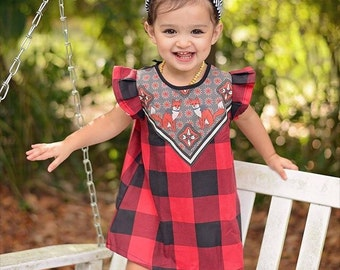 ready to ship fox print baby dress buffalo plaid flannel Supayana