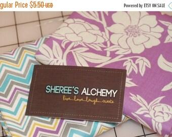 ON SALE Novella Cotton Fat Quarter FQ Bundle 2 prints Purple Turquoise Quilting Sewing Modern Fabric Floral Chevron