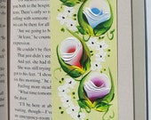 Hand-painted Magnetic Bookmark - Pink, Blue, Purple, Red and White Rosebuds and Daisies - No. 1190