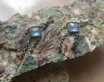 Chalcedony Diamond Earrings