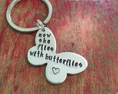 Stamped butterfly memorial keychain