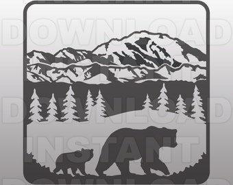 Bear SVG File,Camping SVG File-Cutting Template-Clip Art for Commercial & Personal Use-Cricut,Silhouette,Cameo,Sizzix,Pazzles,Vinyl,Decal