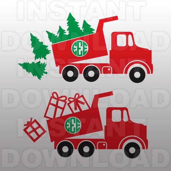 Christmas SVG File-Dump Truck SVG-Monogram svg-Die CutVector