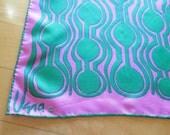 Vintage 70s VERA Neumann Pink Green MOD Rectangular Silk Twill Scarf Hand Rolled Edge