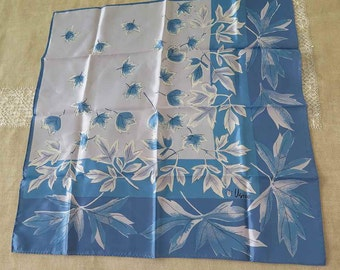 Vintage Vera Neumann Blue Fall Leaves Scarf Japan
