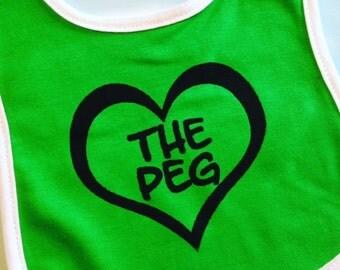 Winnipeg childrens bib of The Peg. Silk screened baby bib.