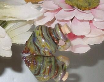 SALE!  Handmade Red Cream Opal Lampwork Vessel Focal SRA-Bastet's Beads- Earth Opal
