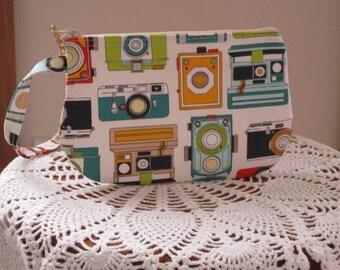 Vintage Camera Bag Small Clutch Wristlet Zipper Gadget Pouch Camera Bag