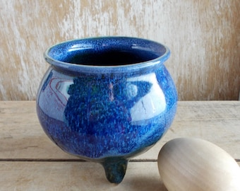 Midnight Blue Cauldron, Handmade Round Caldron, Pagan Altar Tool, Wiccan Magic Majick Spell Casting Tools, Feminine Altar, Ready to Ship