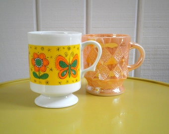 Vintage Fire King Peach Luster and Funky Retro Flowers & Butterflies Coffee Mugs / Cups, Set of 2, Made in USA and Japan, Circa 1960s