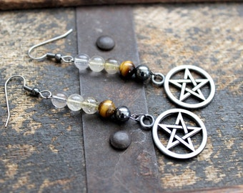 Air Magic Gemstone Pentacle Earrings - Witchcraft - Wicca - Elements