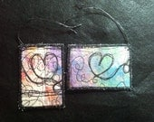 Quilted Art Gift Tags / Luggage Tags- Set of 2- OOAK Unique Original Textile Fiber Art