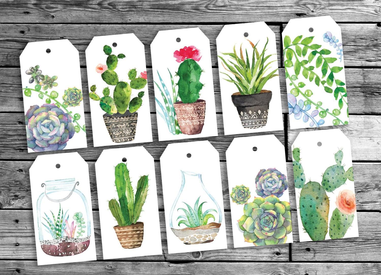 Etiquetas de regalo de cactus bot nicas etiquetas de regalo - Etiquetas para plantas ...
