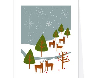 christmas card set deer on snowy mountain greeting card collection