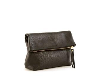 Black Leather Fold Over Clutch- Tre Clutch