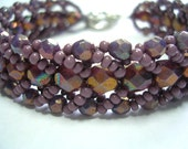 Plum Purple Picasso Crystal Bracelet Woven Seed Bead Bracelet Czech Glass Delica Seed Beads 7.75 inches Antique Silver Toggle Clasp