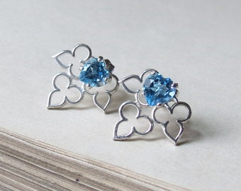 SALE  Swiss Blue Topaz Gemstone Hearts with Sterling Clover Earring Jackets Ready to ship