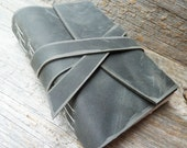 Handbound leather journal - distressed charcoal leather