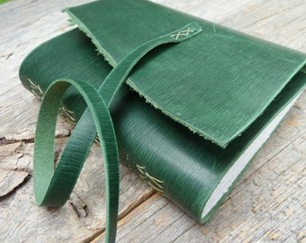 Handbound leather journal - emerald green leather