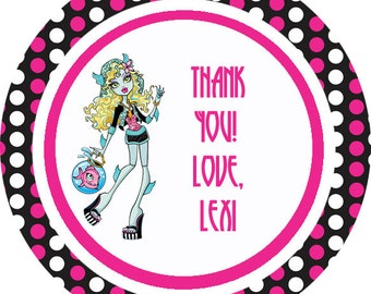 Monster High theme thank you tags, favor tags, gift tags - set of 24