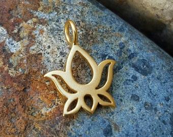 Gold Lotus Flower Bud Charm - Vermeil