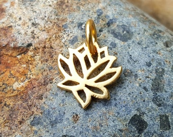 Tiny Gold Lotus Charm VERY SMALL Vermeil - Gold Lotus Necklace - 24K Gold over Sterling Silver - High Quality