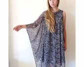 IMMEDIATE SHIPPING Paisley Chiffon One Sleeved Kaftan Dress