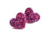 Ruby Glitter Heart Earrings Laser Cut Acrylic Valentines Jewellery Heart Studs Glitter Acrylic I Love You Purple Glitter Sparkle Earrings