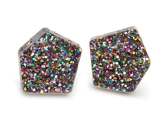 Rainbow Confetti Glitter Laser Cut Acrylic Nugget Stud Earrings
