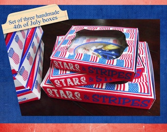 Set of three handmade 4th of July boxes