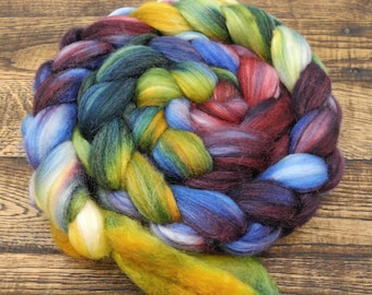 Iris You Were Here - BFL Silk - Hand Dyed Roving - Spinning Fiber - IN STOCK