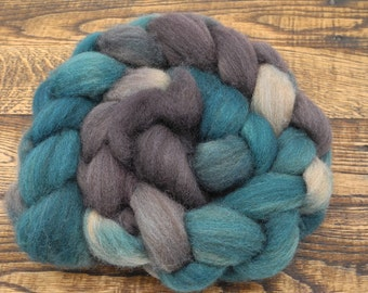 Kara on fawn colored Shetland Wool, Hand Dyed Roving and Spinning Fiber - In Stock