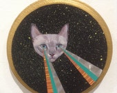 Grey Cat Head with Laser Eyes in Space-Original Collage & Painting
