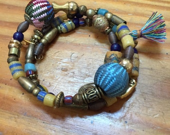 Memory wire African beaded bracelet