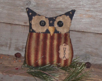 Primitive Whimsical Patriotic Americana USA Red White and Blue July 4 Hoot Owl Bowl Filler Ornie Doll Shelf Sitter Tuck