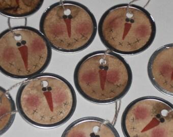 12 Primitive Metal Rimmed Hang Tags Handpainted Snowman Snowball Christmas Holiday Hang Tags Ornies Scrapbooking