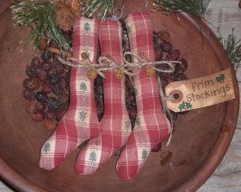 3 Primitive Country Rustic Christmas Holiday Red & Green Plaid Stockings Ornaments Ornies Bowl Fillers Tucks