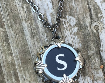 Letter S Typewriter Key Vintage Necklace Jewelry Keepsake for Bridesmaid, Teacher, Writer Gift Jewellery