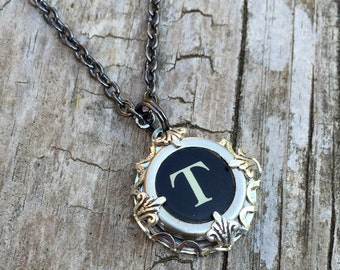 Letter T  Vintage Typewriter Key Initial Necklace, Gift Ideas for Mom
