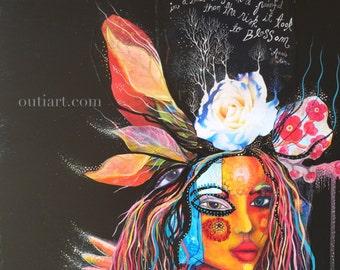 Blossoming,  original mix media painting
