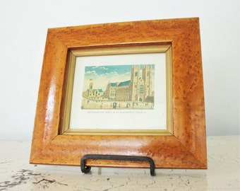 Vintage Picture of English Westminster Abbey St Margaret's Church Birdseye Maple Frame