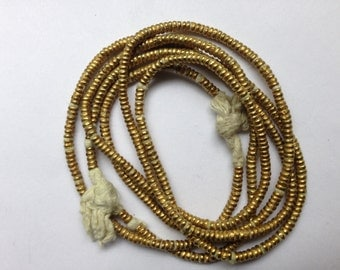 Ethiopian brass/gold color heishi beads, brass beads, golden beads, African heishi