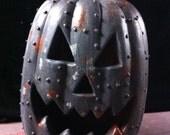 Steampunkin Steampunk Black  Rusted Metal Pumpkin Halloween  Pumpkin Sculpture 2