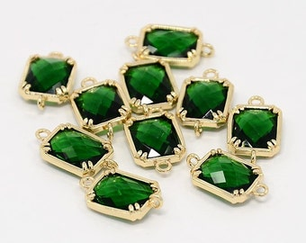 Top Quality 2pcs Green Glass Polished Real Gold Plated Brass Links GLAA