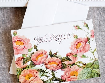 Blush Pink and Gold Roses Thank You Notes set of 5
