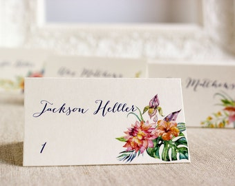 Tropical Hibiscus Wedding Reception tented Place Cards - Floral Watercolor place card - Destination wedding - Island Wedding - beach wedding