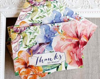 Tropical Hibiscus Watercolor Thank You Notes set of 5