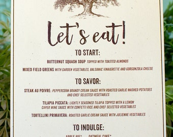 Oak and Acorn Wedding Reception Menu Card- woodland wedding - autumn wedding - oak tree wedding menu - fall wedding reception - rustic menu