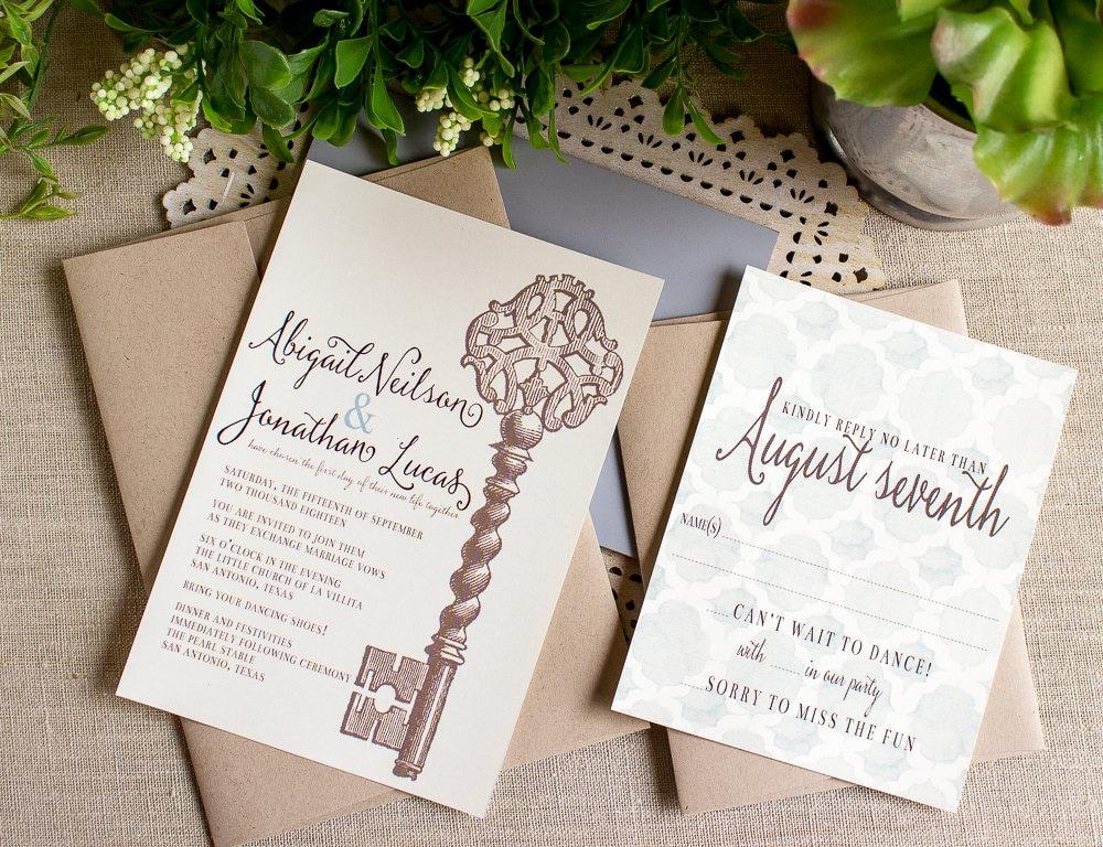 Key Themed Wedding Invitations: Vintage Key Wedding Invitation Skeleton Key Wedding