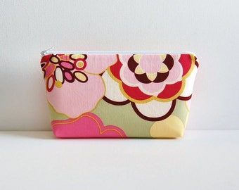 Makeup Bag Cosmetic Case Zipper Pouch Toiletry Storage Alexander Henry Kleo in Pink and Sage
